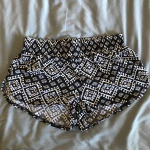 Black and white patterned lounging shorts